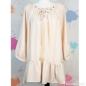 NWT MITTOSHOP Oyster Ruffled Tunic Top - Women's M